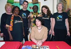 Joanne Harris at the 'Chocolat' event with Ghanaian cocoa farmers