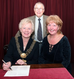 Bradford's Lord Mayor Councillor Valerie Binney and Peter Hill Chair of Haworth Parish Council